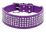 """Berry Pet Rhinestones Dog Collars - 5 Rows Full Sparkly Crystal Diamonds Studded PU Leather - 2 Inch Wide -Beautiful Bling Pet Appearance for Medium & Large Dogs,17-20"""" Purple"""