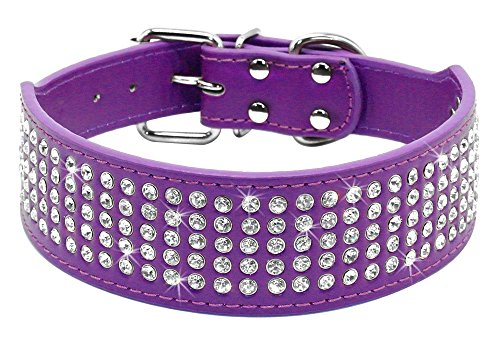 Beirui Rhinestones Dog Collars - 5 Rows Full Sparkly Crystal Diamonds Studded PU Leather - 2 Inch Wide -Beautiful Bling Pet Appearance for Medium & Large Dogs,21-24