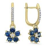 14K Yellow Gold Round Blue Sapphire & Diamond Ladies Cluster Flower Dangling Drop Earrings