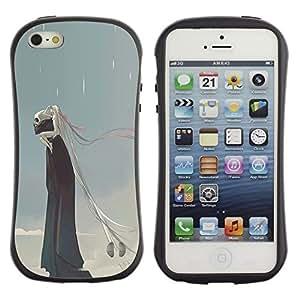 Suave TPU GEL Carcasa Funda Silicona Blando Estuche Caso de protección (para) Apple Iphone 5 / 5S / CECELL Phone case / / Rain Death Monster Blue Clouds Skull /
