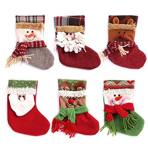 Mini Christmas Stocking Needlepoint (Royalbeier Christmas Stocking Kits Xmas Santa Reindeer Snowman Cartoon Stockings 3D Plush Christmas Tree Party Decoration Ornaments Gift Candy Bag (B-Mini Stocking))
