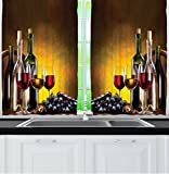 Ambesonne Tuscany Wine Land Decor Collection, Grapes Wines Bottles Glasses Picture Printed Artwork, Window Treatments for Kitchen Dining Room Curtains 2 Panels Set, 55″ X 39″, Brown Black Red Yellow For Sale