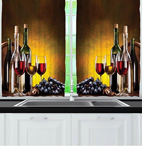 wine theme kitchen curtains - 8
