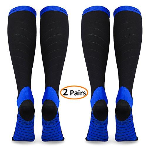 Compression Socks for Women & Men (2 Pairs), Deilin Graduated Compression Sock 20-30 mmHg for Running, Athletic Sports, Flight Travel, Nurses, Maternity Pregnancy, Shin Splints, Edema, Varicose Veins