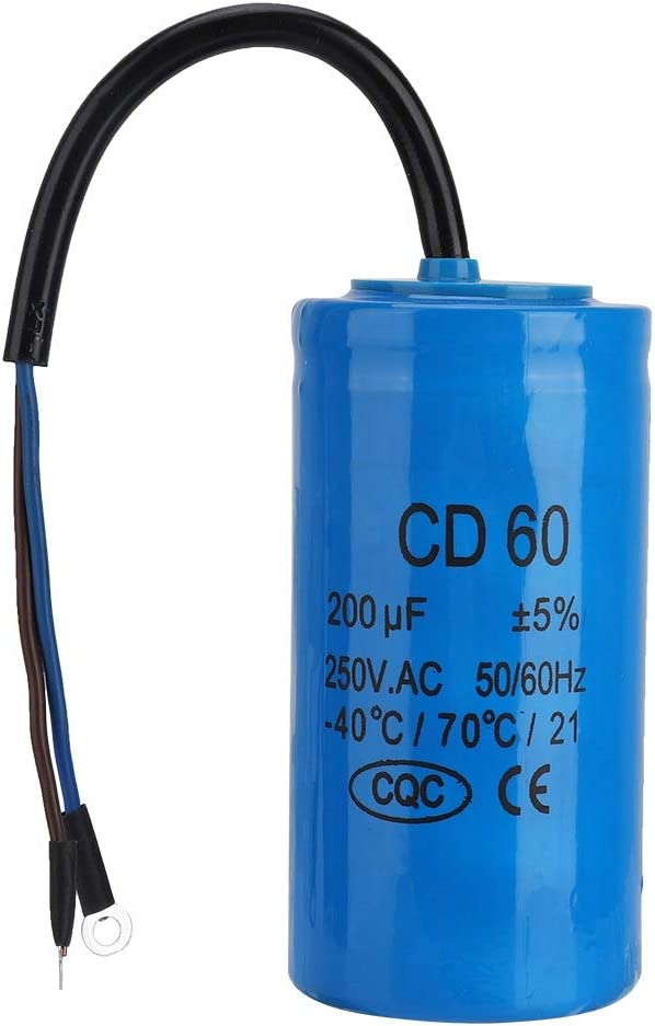 CD60 Betriebskondensator mit 250V AC 200uF 50 60Hz Zuleitung for Motorluftkompressor CD60 Kondensator