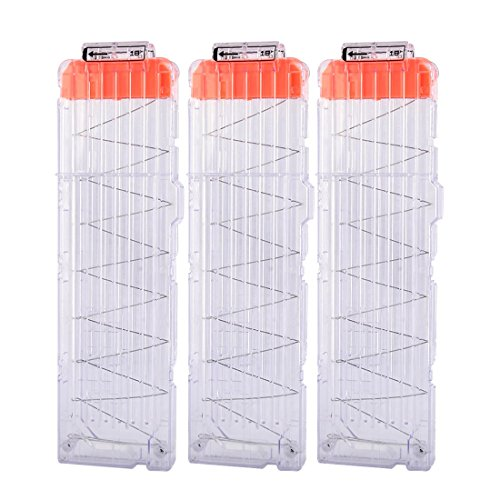 Magazine Clips, Yamix 3 Pack 18-Dart Quick Reload Clip Bullet Clips for nerf n strike elite blaster - Transparent