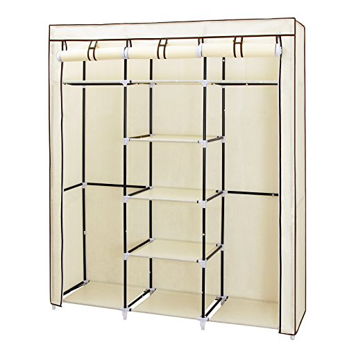 songmics-portable-clothes-closet-non-woven-fabric-wardrobe-double-rod-storage-organizer-beige-59-inc