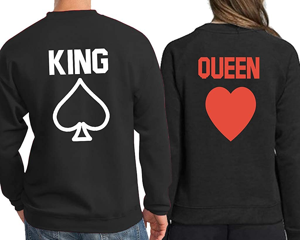 9c925303e4 King Queen Poker Back Print Text Name Design Couple Hoodie, Crewneck  Sweatshirt, Tshirt, Tank top at Amazon Men's Clothing store: