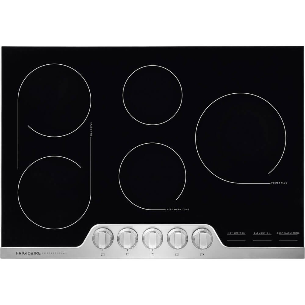 Frigidaire Professional 30 Inch Electric, Ceramic Glass 5-Burner Flat Range with Stainless Steel Trim, FPEC3077RF Cooktop