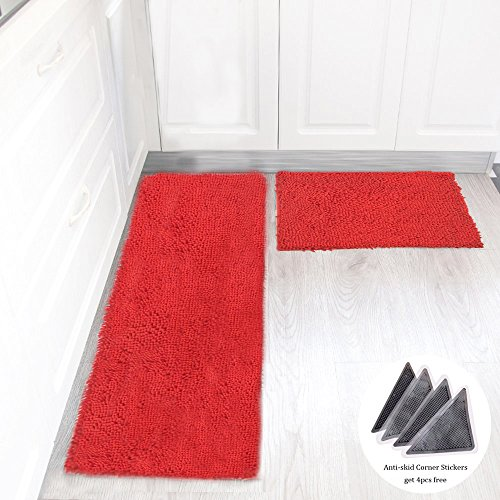 Wolala Home 2 pcs Sets Strong Absorbent Non-slip Kitchen Rug and Carpet Super Soft Chenille Shaggy Latex Backing Solid Home Decorator Floor Mats (16''x24''+16''x47'', Red) by Wolala Home