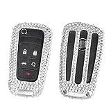 [M.JVisun] Handmade Car Key Fob Cover For Chevrolet Aveo Trax Epica Lova RV Malibu Sail3 Camaro Remote Key, Diamond Car Key Case Cover, Aircraft Aluminum + Genuine Leather + Bling Crystal - Silver