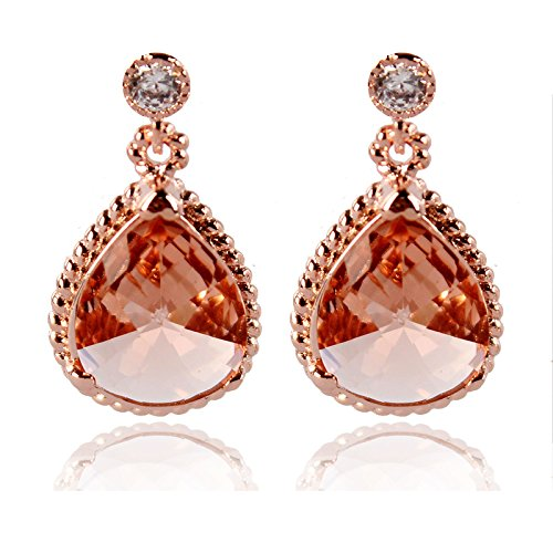 Gold Plated Colorful Crystal (14K Gold Plated, Colorful Crystal Drop Earrings, Sliver Post (Yellow-43))