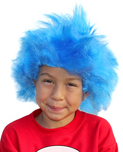 Thing 1 and Thing 2 Costumes Wig Blue Troll Wig Blue Thing Wig Thing One (Girl Thing 1 Thing 2 Costumes)