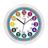 ONETIME Kinderwanduhr (Ø) 30,5 cm Kinder Wanduhr mit lautlosem Uhrenwerk und farbenfrohem Design -...
