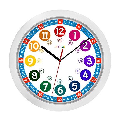 ONETIME Kinderwanduhr (Ø) 30,5 cm Kinder Wanduhr mit lautlosem Uhrenwerk und farbenfrohem Design - Ablesen der Uhrzeit lernen