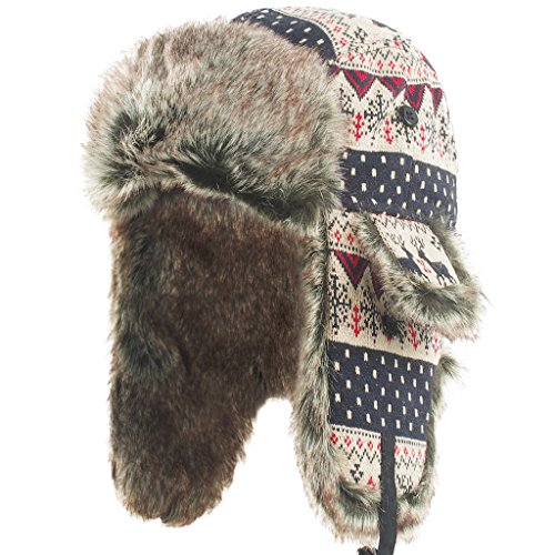 Janey Rubbins Unisex Winter Knit Russian Ushanka Cossack Trapper Aviator Cap Hat - Russian Hat Ushanka Women