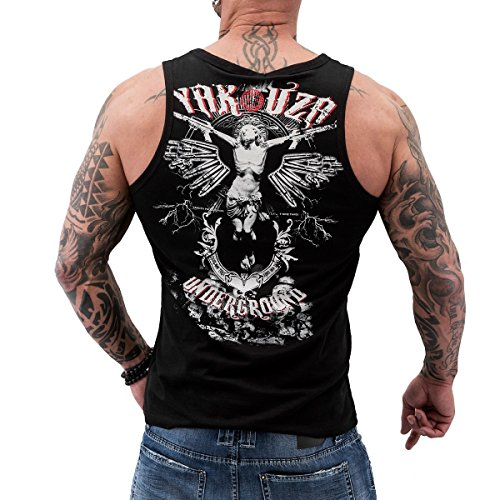 Yakuza Herren Muscle-Shirt Tank Top klassisch Round Neck Yakuza Underground UHB 656 schwarz