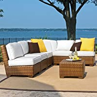Panama Jack Outdoor 7-Piece St Barths Corner Modular Sectional with Cushions Set, Includes 5 Armless Chairs, 1 Corner Chair and 1 Coffee Table with Umbrella Hole from Hospitality Rattan - DROP SHIP