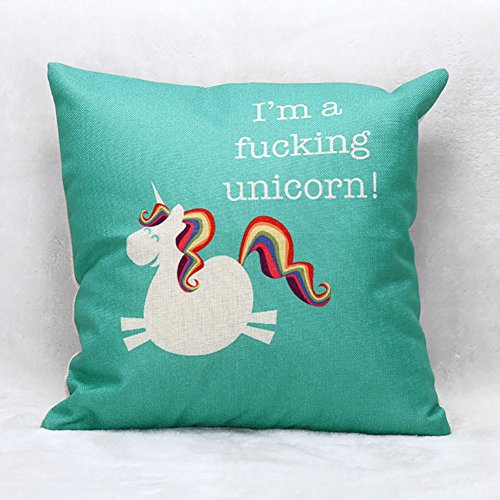 LeiOh Decorative Cotton Linen Pillow Shams Square Unique Printed Unicorn Pattern Sofa Throw Pillow Case Cushion Cover 18 x 18 Inches