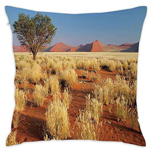 (Wbsdfken Landscape,Acacia Tree Desert Sossusvlei Namibia Southern Africa Photo,Marigold Sky Blue and Green Top Decorative Throw Pillow Covers Soft Cushion Couch Car 18 x 18 Inch)
