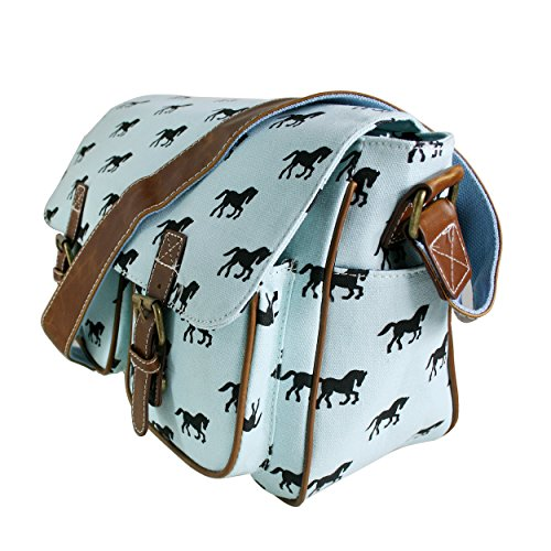 Ladies Saddle Canvas Horse Blue Shoulder Satchel Body Cross Light Messenger School Satchel Bag IqnnfU51