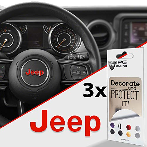IPG for Jeep Steering Wheel Overlay Decal Vinyl Cover Set of 3 for Emblem Do it Yourself Stickers Set Personalize Your Jeep (Light Red)