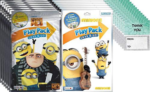 Bendon Illuminations Despicable Me 3/Minions - Set of 12 Play Pack Grab & Go - Party Favors and 12 thank you cards
