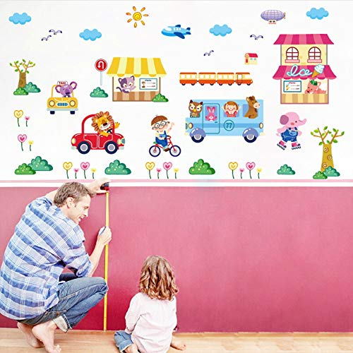 Meaosy DIY Cartoon Happy Street Wall Stickers for Kids Rooms Bedroom Home Decoration Art Decals Car Mural Self Adhesive Film