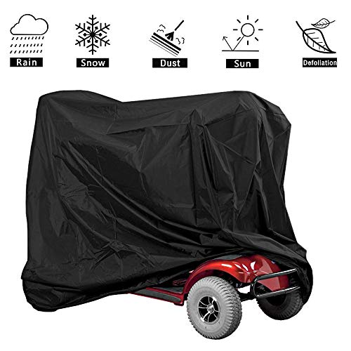 VVHOOY Mobility Scooter Cover,55.1x26x35.8inch Waterproof Wheelchair Cover Outdoor 4 Wheel Power Scooter Travel Storage Cover Outdoor Protection Against Dust Dirt Snow Rain Sun Rays ()