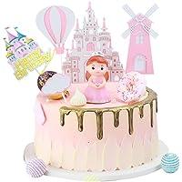 Kaimeilai Taartdecoratie decoratie, taartdecoratie prinses Castle windmolen, roze verjaardag taart topper, kinderen…