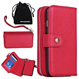 DRUnKQUEEn iPhone 6s Plus Case, iPhone 6 Plus Case, Premium Leather Zipper Wallet Case Magnetic Removable Folio Flip Holster Purse Clutch Cover Card Holder with Wrist Strap for iPhone 6Plus / 6sPlus