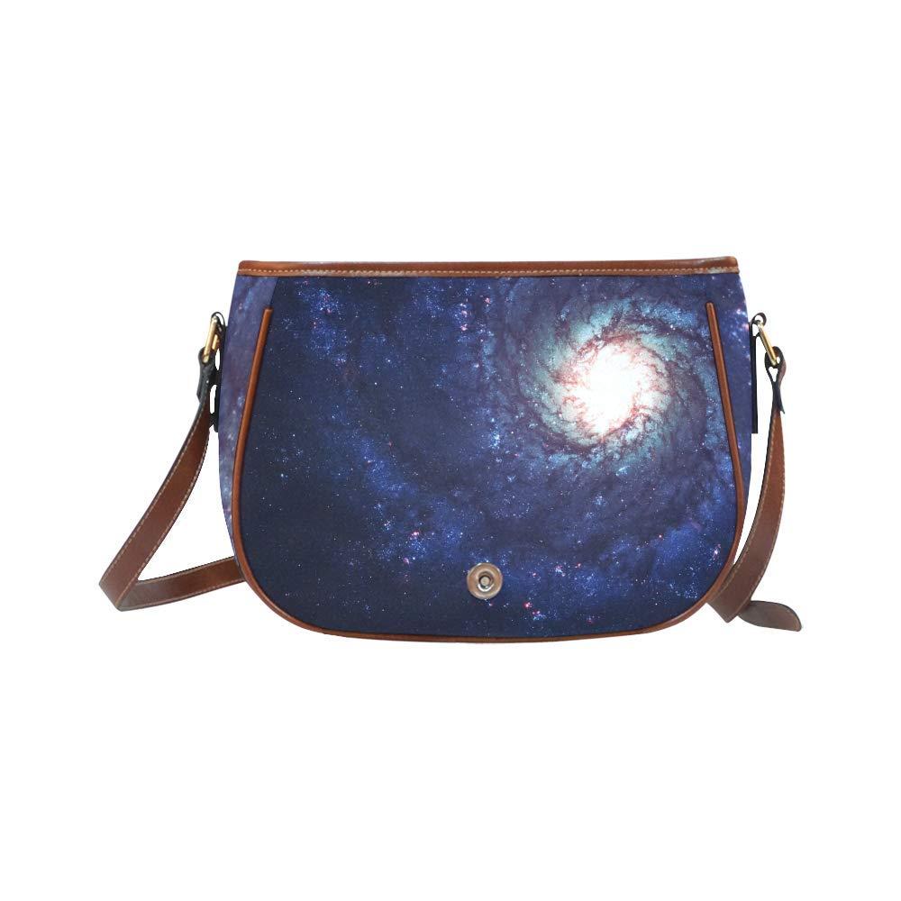 Awesome Spiral Galaxy Oxford Fabric Saddle Bag Crossbody Messenger Shoulder Bag Purse Hand Shoulder Crossbody Bag
