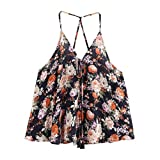 Blouse, Han Shi Fashion Sexy Womens Summer Sexy Printed Sleeveless Blouse Ladies Girls V-Neck Tank Crop Tops Blouse T-Shirt Vest Blouse Cami (S)