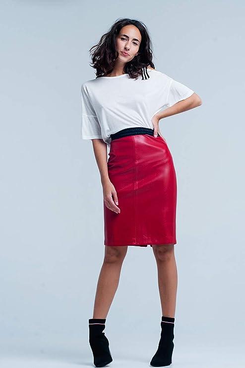 Q2 Falda roja de Tubo de Imitaciã³n de Cuero, Rojo, S Mujeres ...