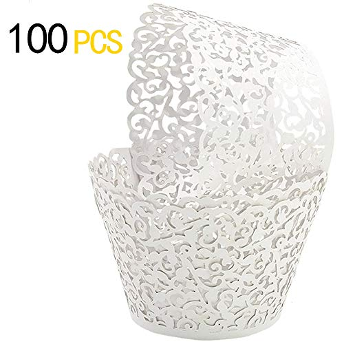 GOLF 100Pcs Cupcake Wrappers | Artistic Bake Cake Paper Filigree Little Vine Lace Laser Cut Liner Baking Cup Wraps Muffin CaseTrays for Wedding Party Birthday Decoration (White) ()