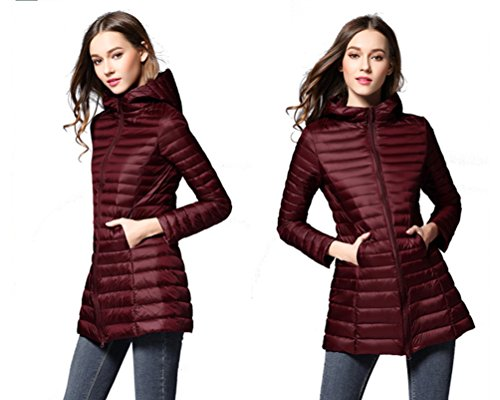 Down ZKOO Red Padded Lightweight Autumn Slim Coat Fit Womens Hoodie Winter Packable and Wine Jacket Outwear Jacket Puffer Windproof wr1ExwHq