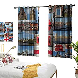 England Decor Curtains by England City Red Telephone Booth Clock Tower Bridge River British Flag with Flowers W55 x L45,Suitable for Bedroom Living Room Study, etc.