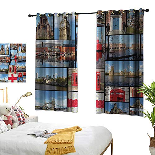 RuppertTextile Thermal Curtains England City Red Telephone Booth Clock Tower Bridge River British Flag with Flowers 63
