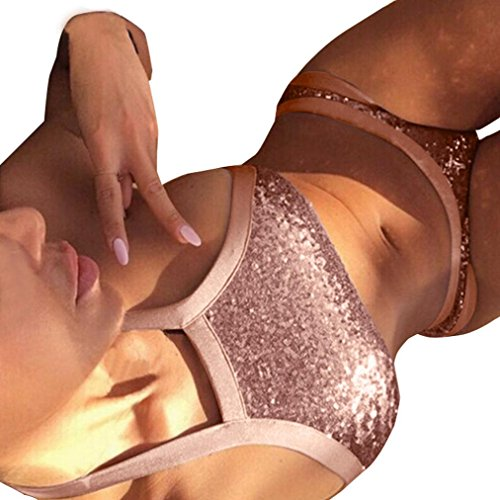 Top Euone® Sequins Swimwear Women Halter Swimsuit Bandage Bathing Suit Bling Sequin Swimwear Bikini Beachwear (L, Pink) for cheap
