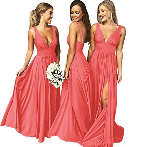 Bridesmaid Dress Long V Neck Backless Split Prom Dress Evening Gowns for Women 2019 Coral Size10