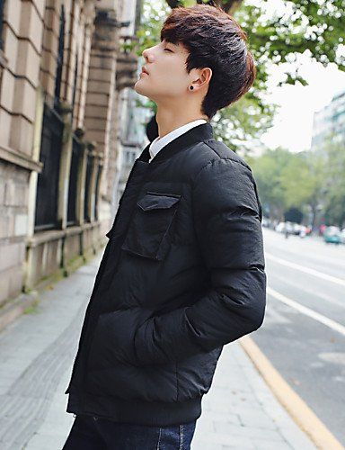 Cotton Street Sleeves Men's Print Plus Cotton Padded Daily Polyester Size Coat DGVFGBD Casual Polyester chic Solid Simple Long Black Regular Boho n6AYpwHq