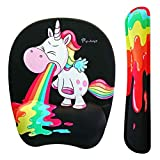Funny Rainbow Unicorn Mouse pad and Keyboard with Wrist Support - Light up Your Office