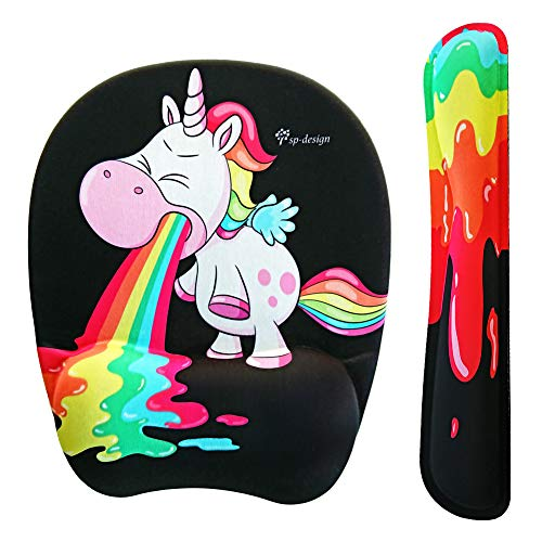 a80213ee3d0da Funny Rainbow Unicorn Mouse pad and Keyboard with Wrist Support by sp-design