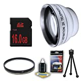 DM Optics 2X Telephoto and UV Lens + 16GB SDHC Memory Card for Samsung HMXH100 HMXH104 HMXH105 HMXH106 Camcorders DavisMAX Accessory Bundle