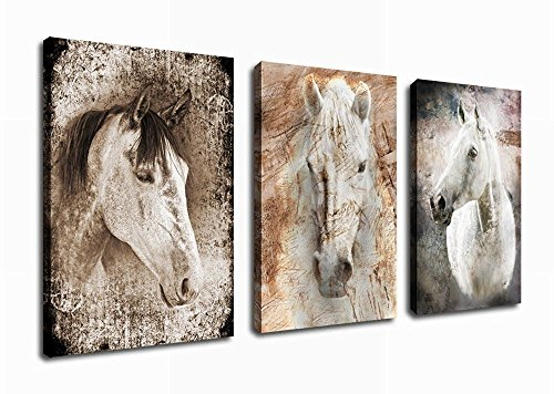 Canvas Wall Art Horse Painting Abstract Canvas Prints Framed Ready to Hang - 3 Pieces Framed Canvass Art Large Horse Face Painting Vintage Picture Giclee Artwork for Home Interior Decoration - Interior Decor Home