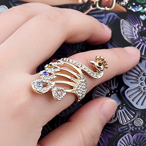 (Jovono Womens Peacock Ring Glod Plated Ring Rhinestone Ring for Wmone and)