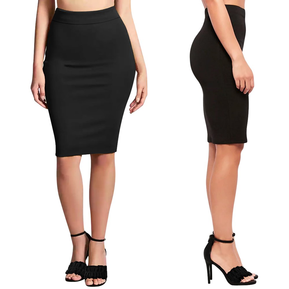 QANZEEKI Colorfast Summer Pencil Skirts Elastic High Waist Knee Length Bodycon Bandage Skirt for Office (Black,M)