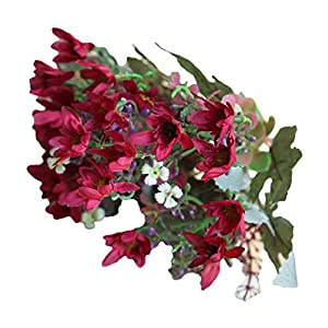 lightclub 25 Heads/1 Bouquet Artificial Flowers Plant China Aster Simulation Wedding Decor Wine Red 58