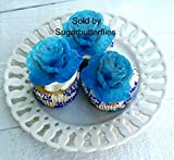Edible Wafer Flat Blue Rose Flower (X-large), Cake/cupcake Toppers Set of 12