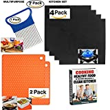 Reusable Gas Range Protectors -Stove Top Burner Covers - Liner Cover-(sets of 4)+ Multitask Silicone Trivet, Spoon Rest, Jar Openers - ( 2 items)+ Vegetable Slicer + EBOOK